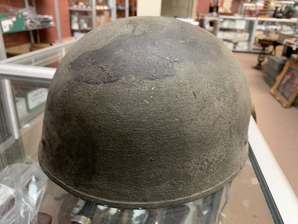 Six WWII and later helmets including a Brodie, American, French, further example labelled 'R' with - Image 11 of 13