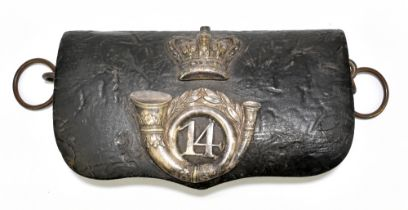 A 19th century leather ammunition pouch with applied white metal crown and badge for the 14th
