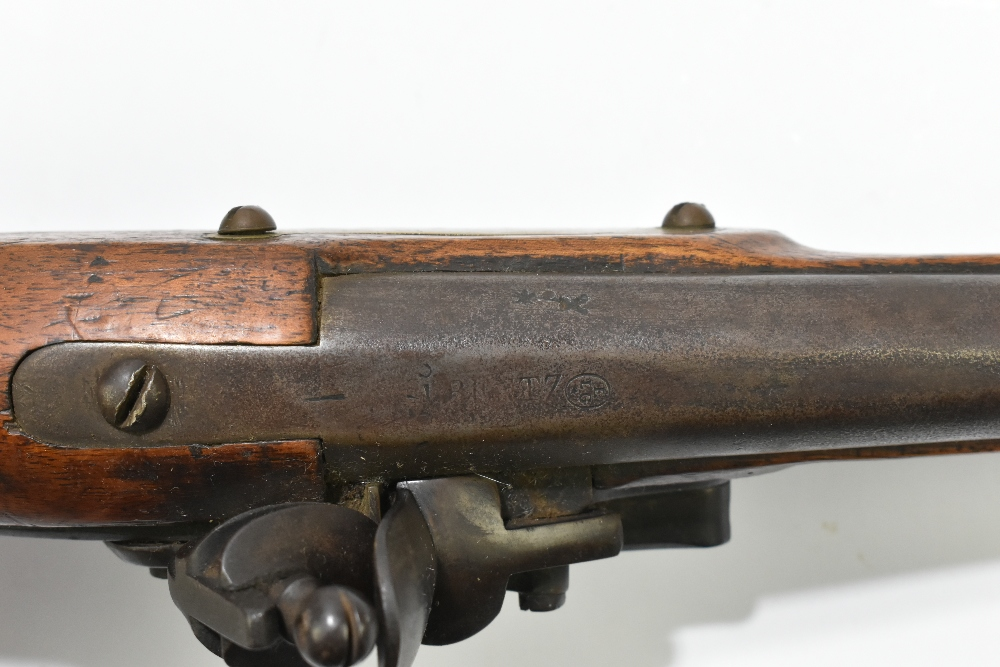 """A 19th century Belgian flintlock pistol, the 9"""" barrelindistinctly signed to the top flat next to a - Image 11 of 11"""
