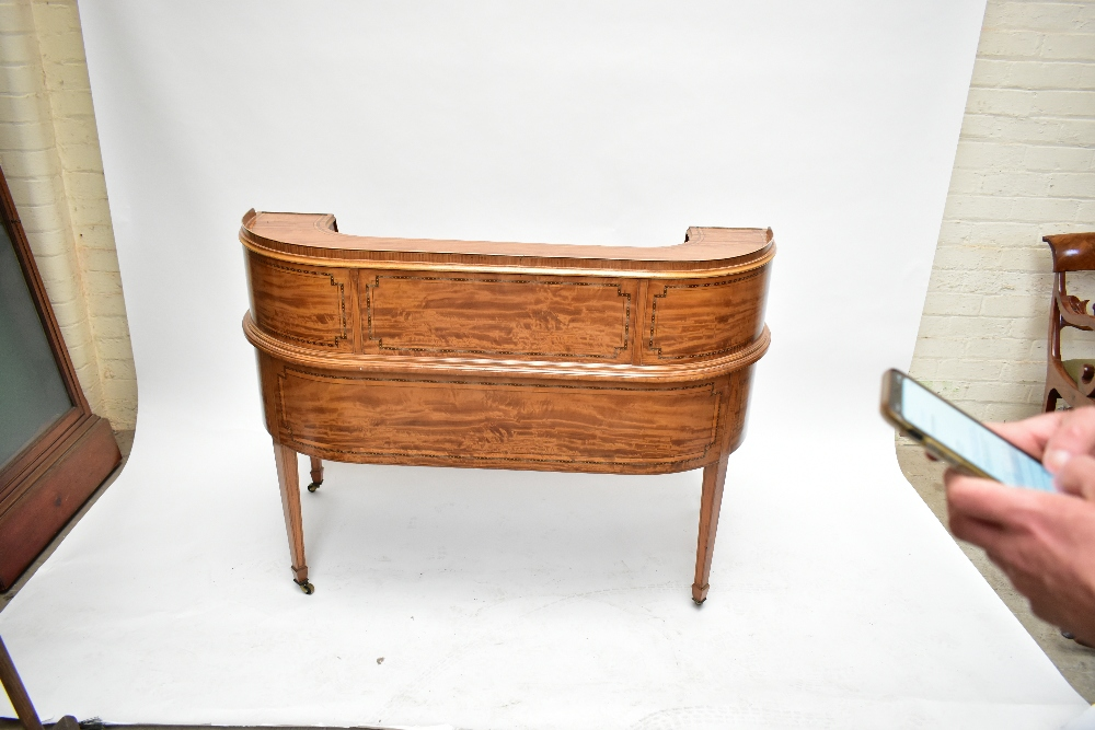 MAPLE & CO; a c.1900 satinwood and inlaid Carlton House desk by Raphael Lalli, the raised back - Image 12 of 16