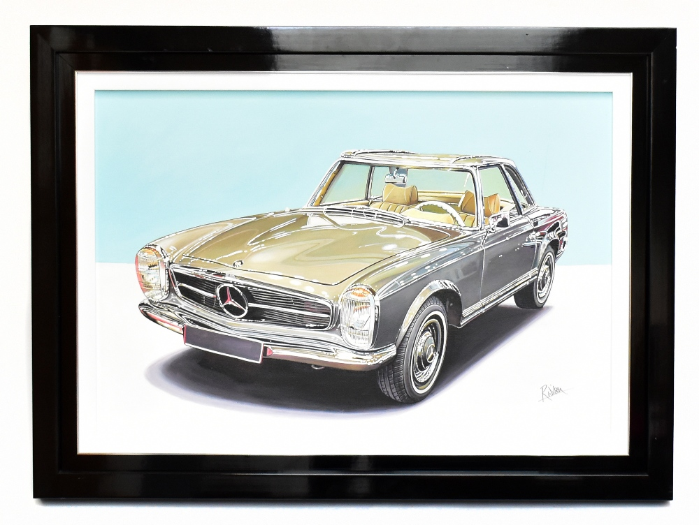 ROZ WILSON; oil on canvas, '1967 Mercedes Benz 230SL', signed lower right, 60 x 90cm, framed. (D)