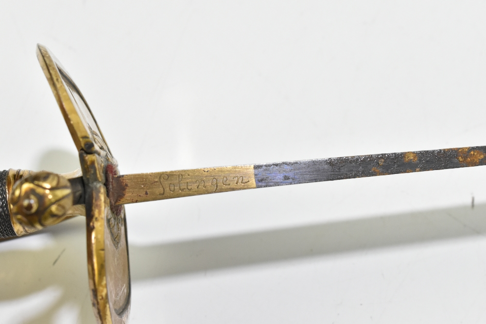 A 19th century Continental court-type sword, the partly blued fullered blade with engraved gilt - Image 6 of 7
