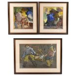 G FRANCO; a pair of watercolours, depicting figures, each signed lower left, 28 x 24cm, together