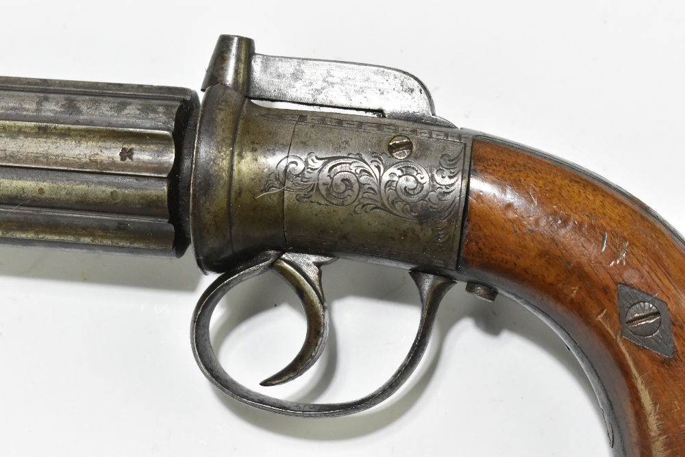 A 19th century six shot percussion cap pepper-pot revolver, with engraved lock plates and back strap - Image 4 of 14