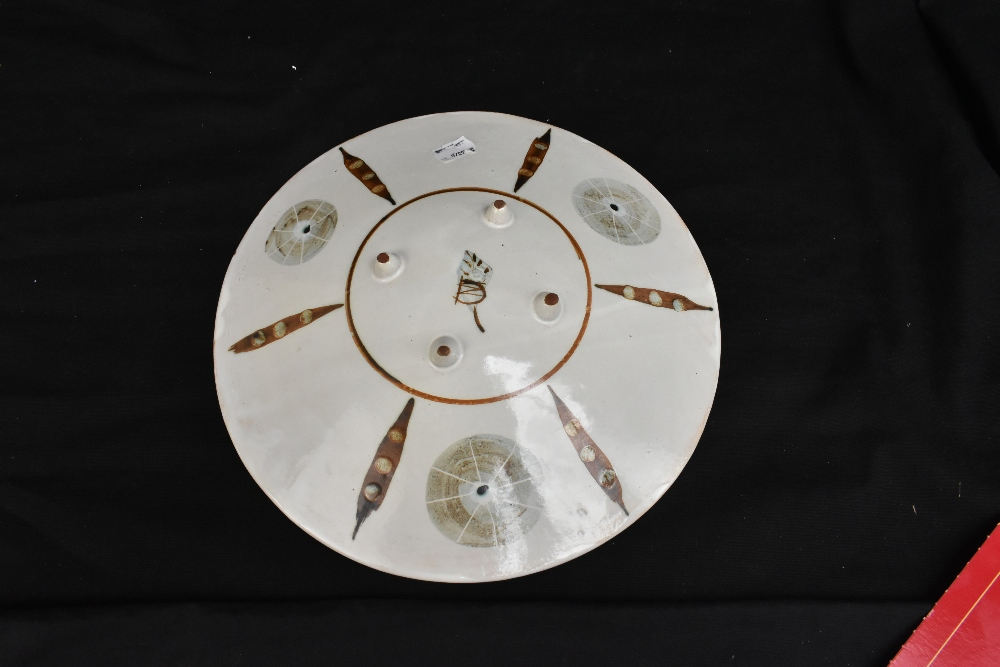 An earthenware footed dish, painted mark, diameter 28cm. Provenance: Purchased from Octagon - Image 2 of 2