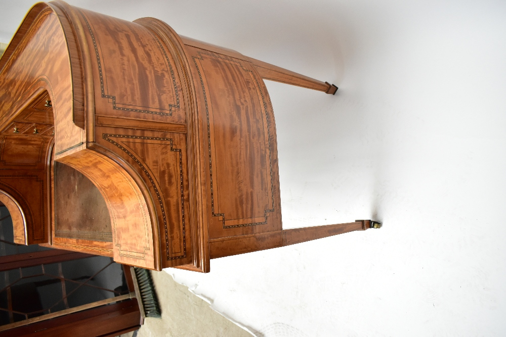 MAPLE & CO; a c.1900 satinwood and inlaid Carlton House desk by Raphael Lalli, the raised back - Image 11 of 16