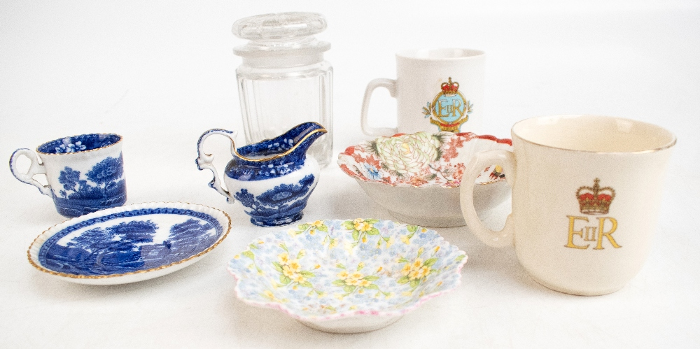 A collection of 19th century and later ceramics including a small selection of Goss and other