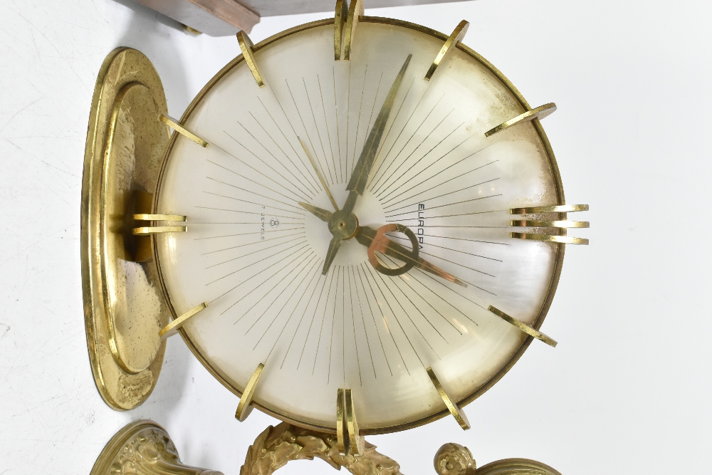 An Edwardian inlaid mahogany lancet topped mantel clock, the silvered dial with Arabic numerals, - Image 3 of 6