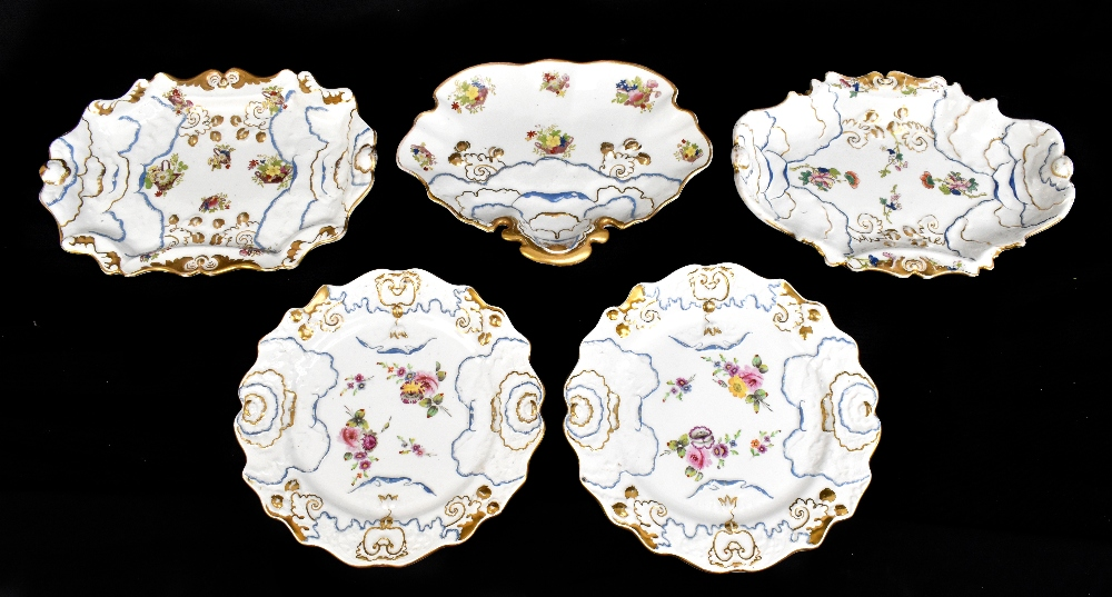 A pair of 19th century Ironstone china dessert plates with moulded floral detail throughout and