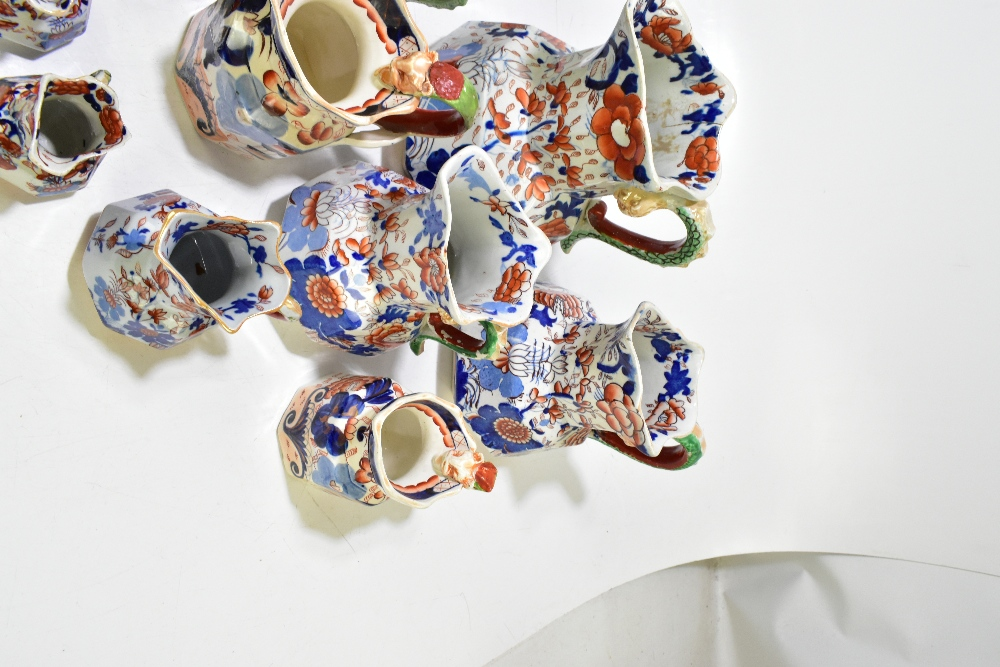 Thirteen assorted 19thcentury and later ironstone jugs, each decorated in the Imari palette, height - Image 4 of 9