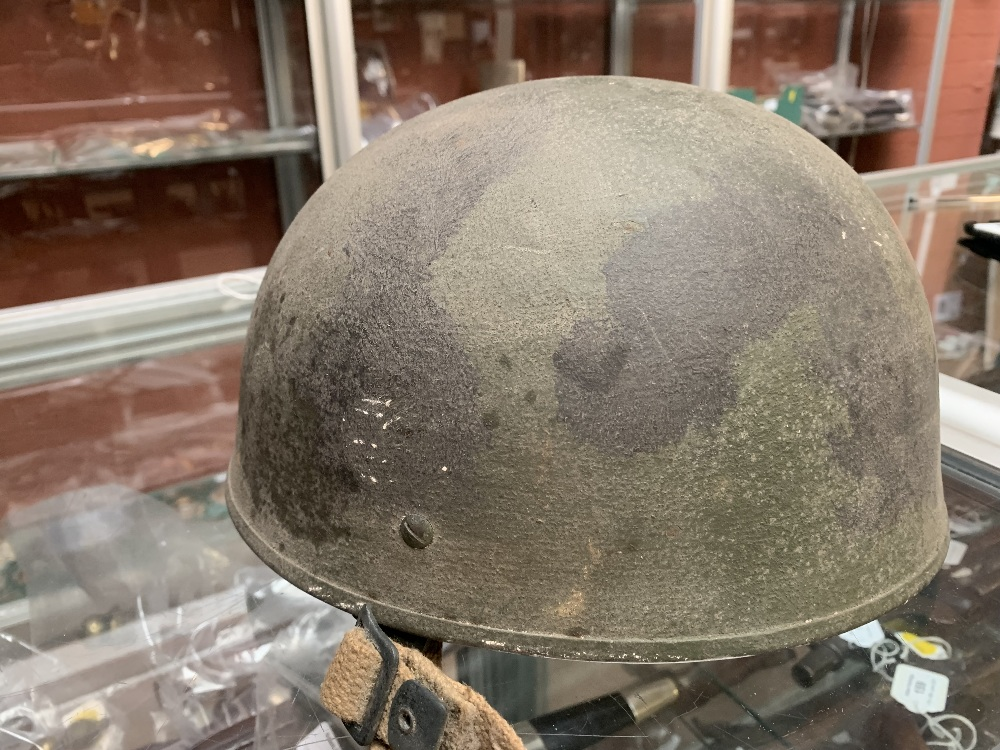Six WWII and later helmets including a Brodie, American, French, further example labelled 'R' with - Image 8 of 13