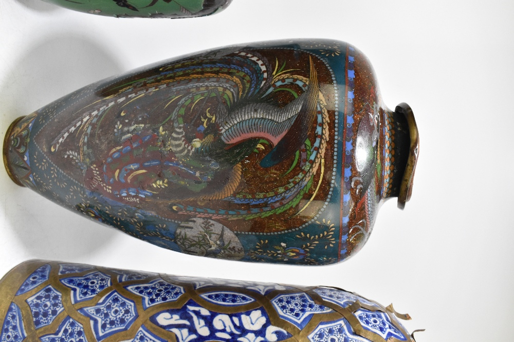 A large and impressive Japanese cloisonne vase of ovoid form, decorated with exotic birds and prunus - Image 3 of 9