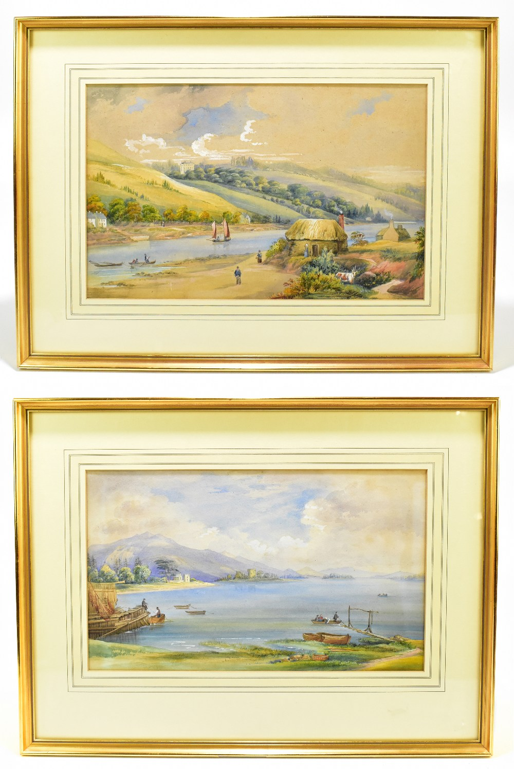 UNATTRIBUTED; a pair of 19th century watercolours, rural lake landscapes, unsigned, 27 x 55cm,