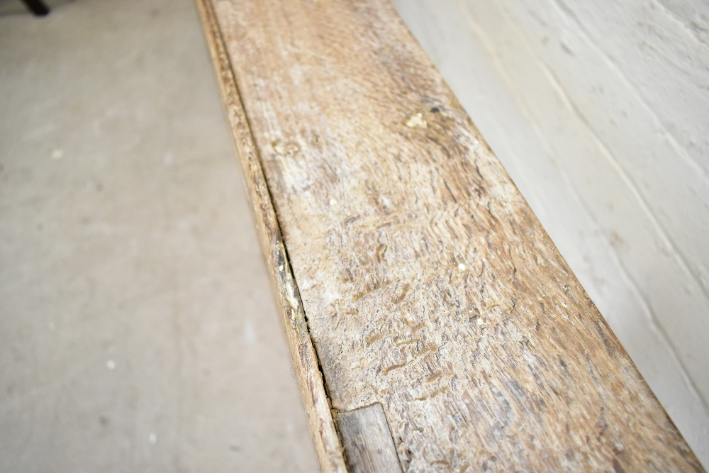 A rustic limed oak hanging plate rack, with arched side sections, length 165cm, height 68cm. - Image 3 of 3