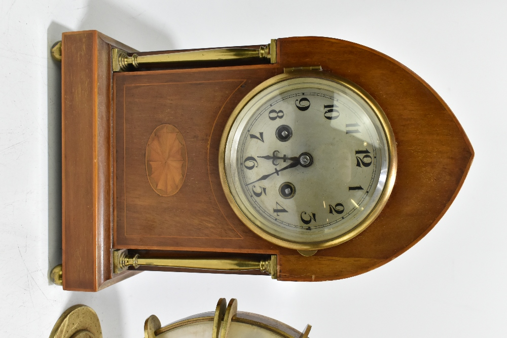 An Edwardian inlaid mahogany lancet topped mantel clock, the silvered dial with Arabic numerals, - Image 2 of 6