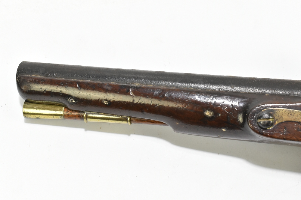 """H. KNOCK; a 19th century flintlock pistol with 9"""" barrel indistinctly stamped with various proof - Image 9 of 11"""