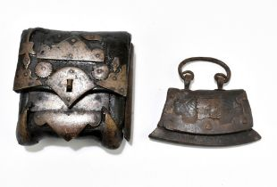 Two 19th century or earlier leather and iron/steel dispatch pouches, the larger 11.5 x 10.5cm (2).