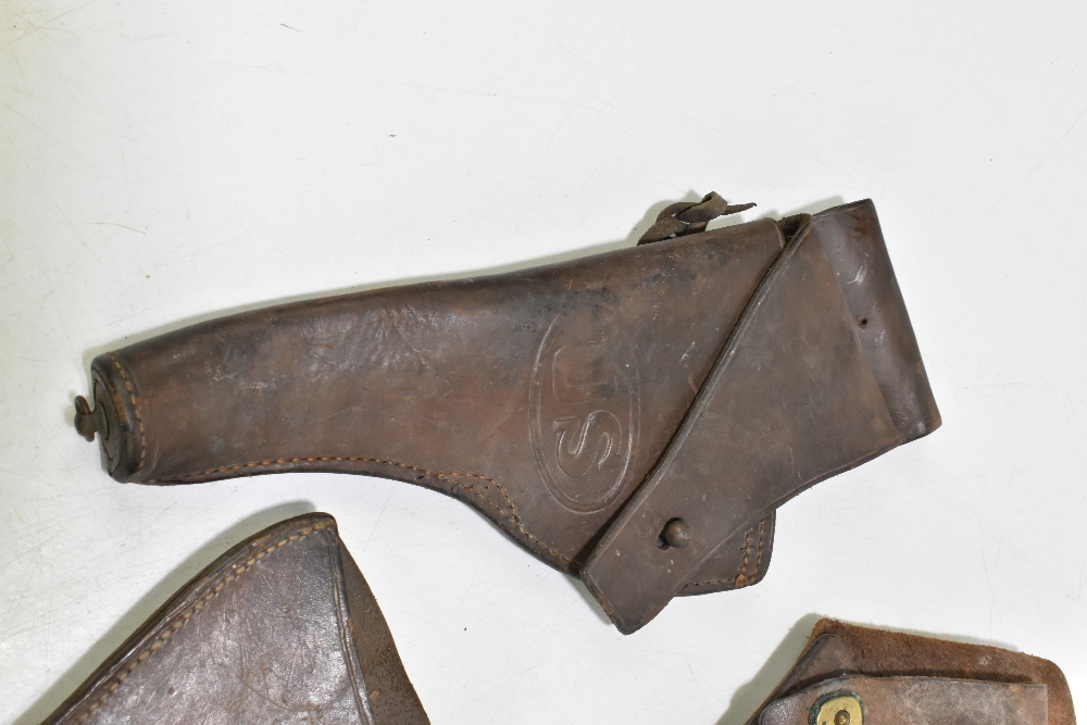Five leather pistol holsters (5). Provenance: The Captain Allan Marshall Collection.Additional - Image 2 of 6