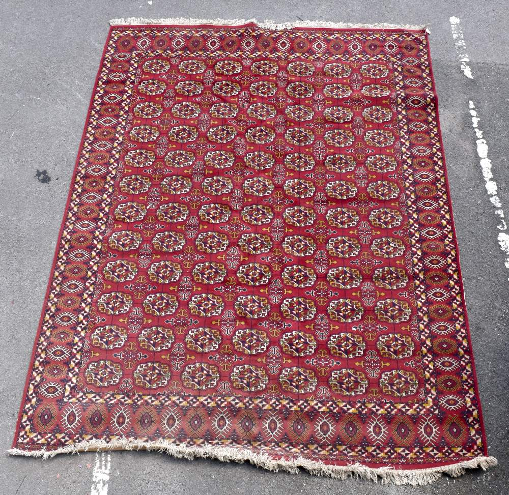 A large eastern style Bokhara type carpet decorated with stylised motifs on a red ground, 350 x