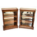 A good pair ofVictorian inlaid satinwood, burr walnut and amboyna pier cabinets with three-