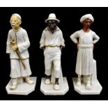 ROYAL WORCESTER; three figures emblematic of countries modelled by James Hadley comprising China,