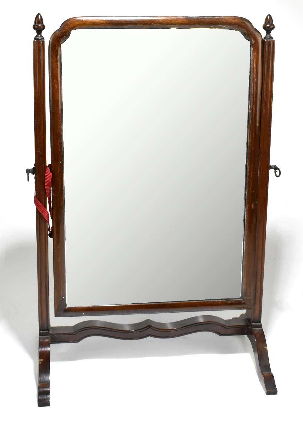An early 20th century mahogany swing toilet mirror, height 59cm, width 38cm.