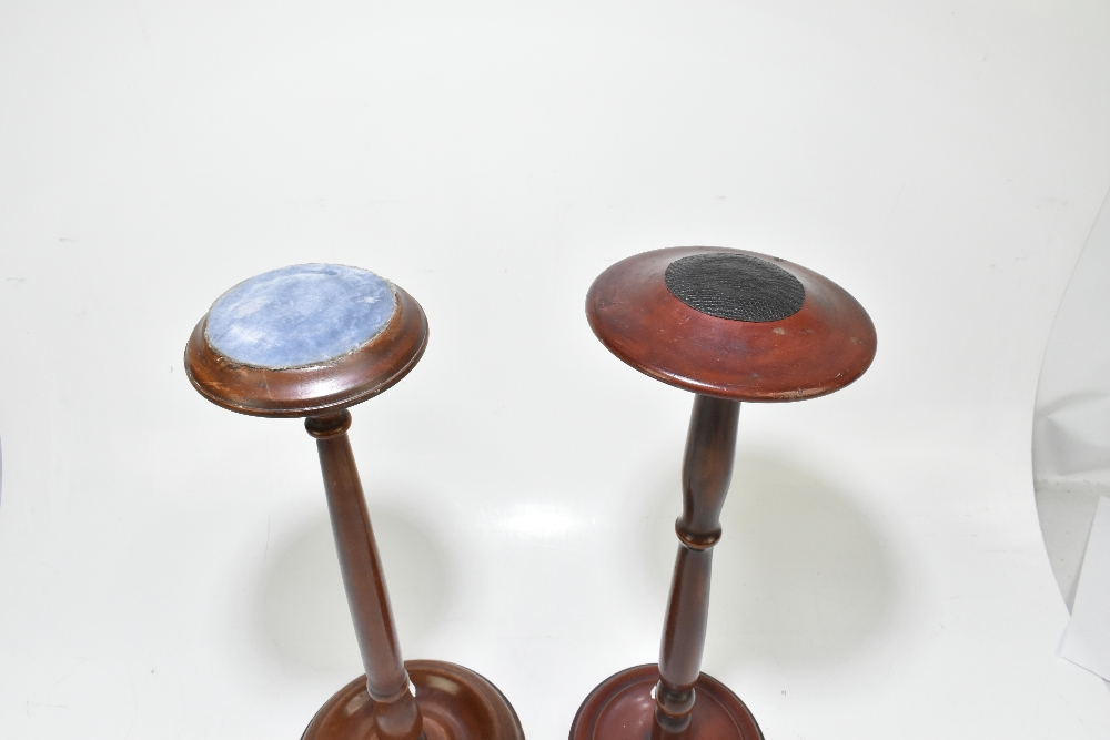 A late 19th century mahogany wig stand, raised on a circular column terminating on a circular plinth - Image 2 of 3