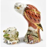 ROYAL CROWN DERBY; two animal form paperweights, comprising 'Red Kite', height 19cm, and 'Toad',