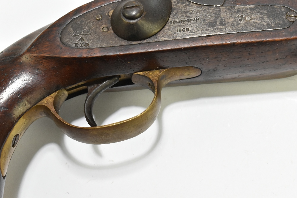 """A 19th century East India Government percussion cap large bore pistol with 8"""" barrel, the lock - Image 4 of 10"""