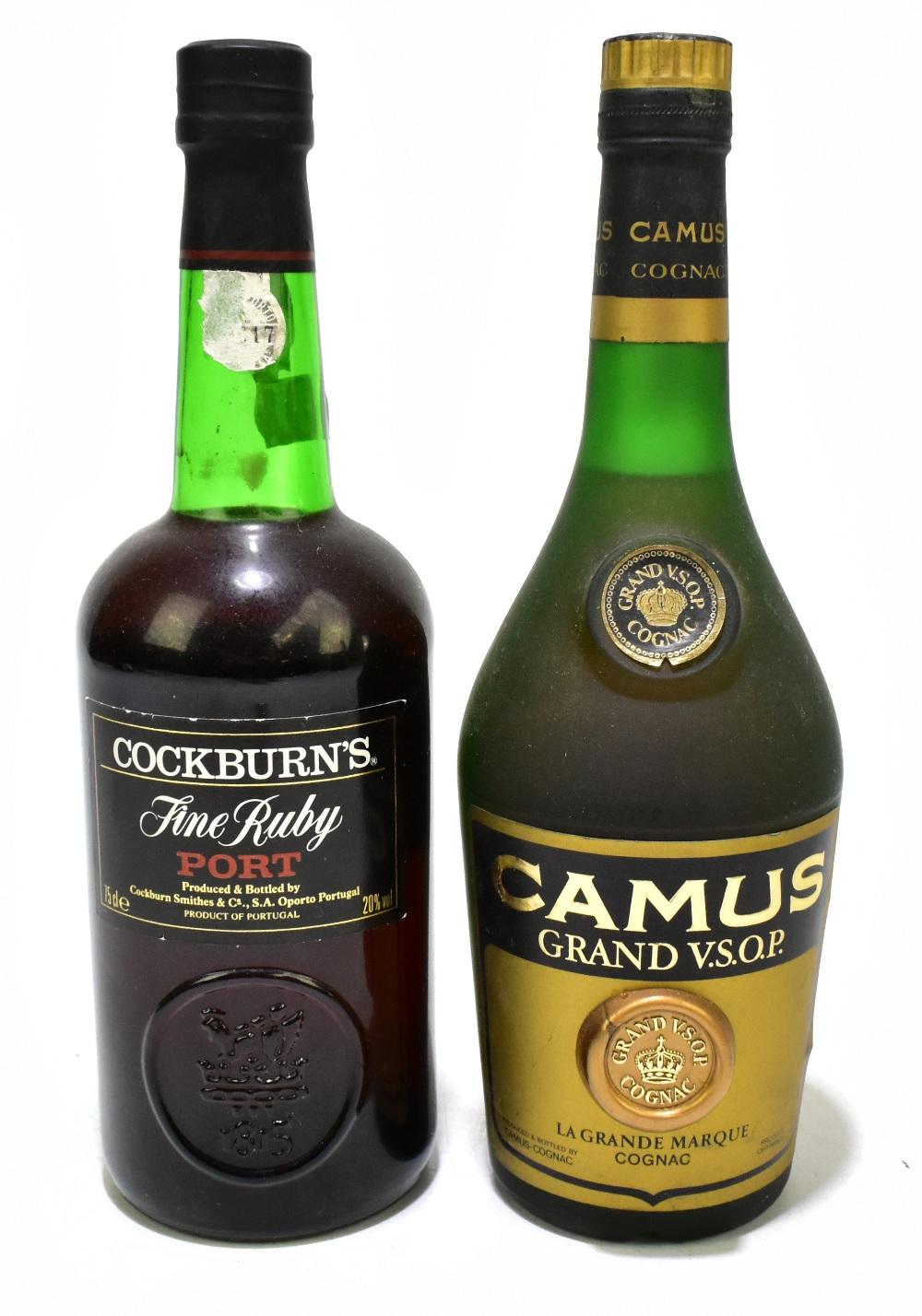 COGNAC; a single bottle of Camus Grand V.S.O.P., also a single bottle of Cockburn's Fine Ruby