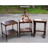 A reproduction Regency-style nest of three tables with rectangular tops on ring turned legs, the