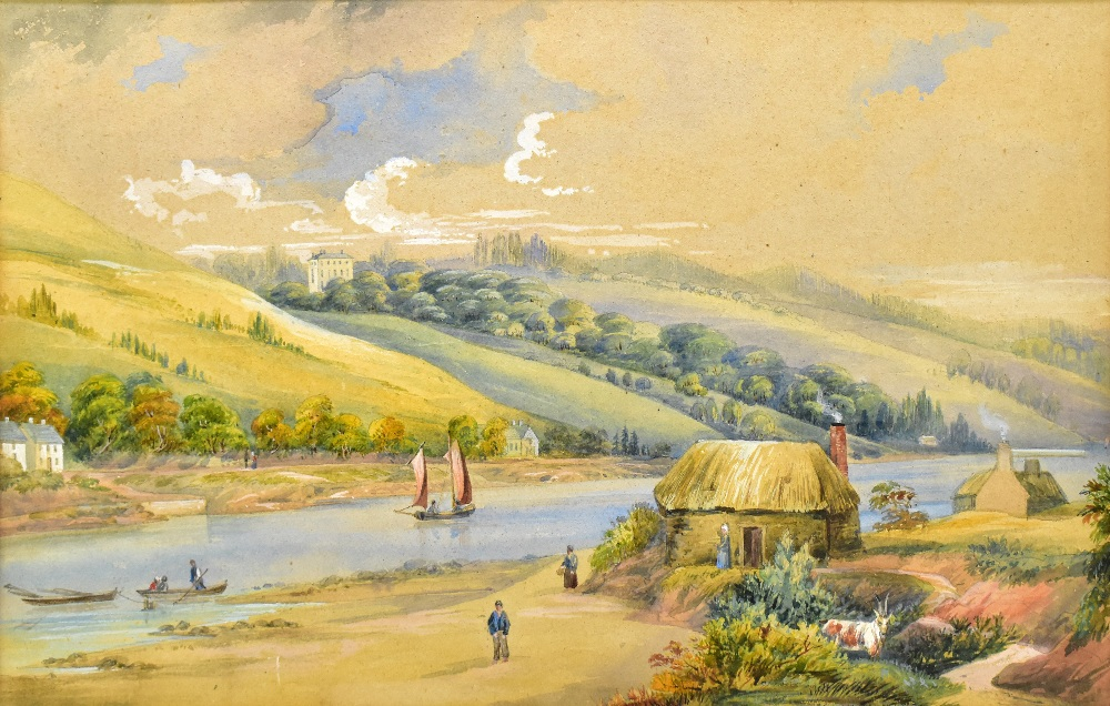 UNATTRIBUTED; a pair of 19th century watercolours, rural lake landscapes, unsigned, 27 x 55cm, - Image 2 of 5