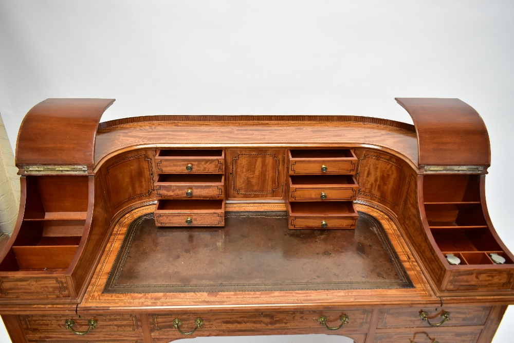 MAPLE & CO; a c.1900 satinwood and inlaid Carlton House desk by Raphael Lalli, the raised back - Image 2 of 16