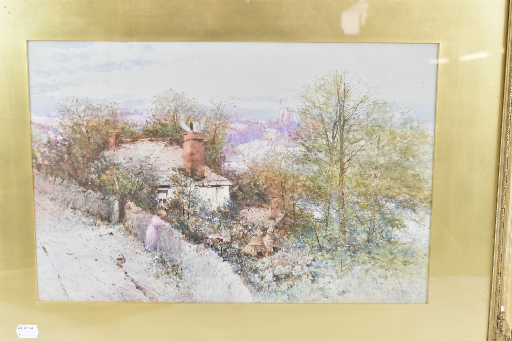 THOMAS DINGLE (fl.1879-1889); watercolour, figure on path in front of cottage with church in the - Image 2 of 4