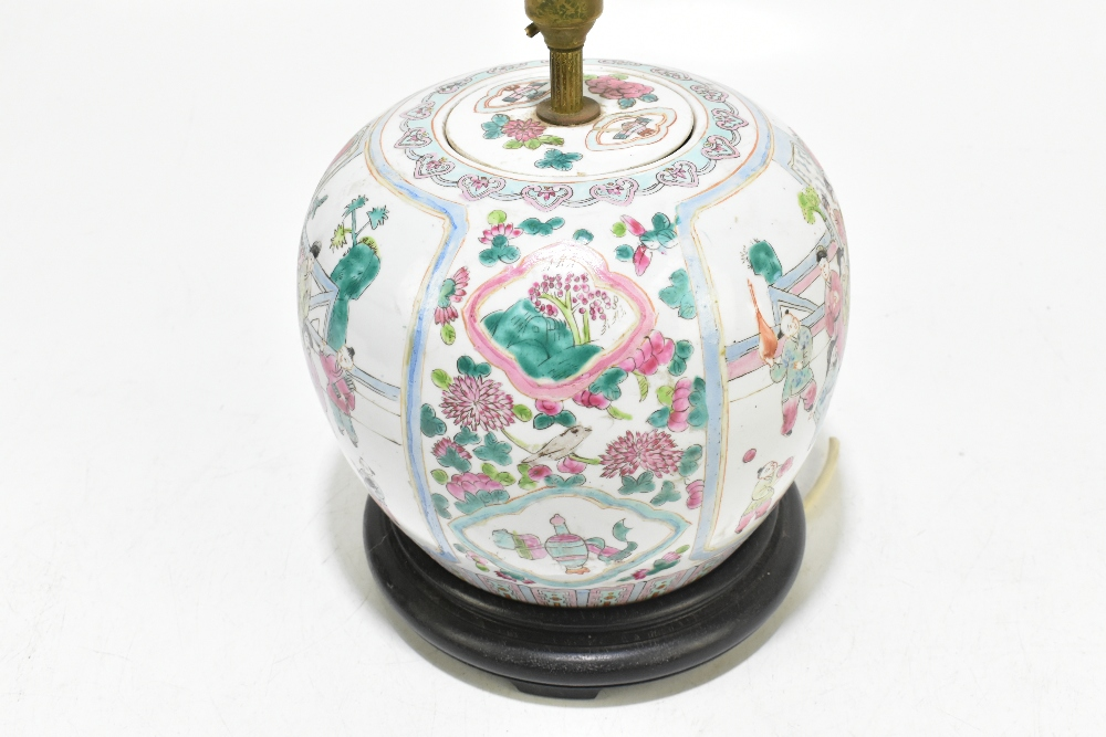 A Chinese Famille Rose ginger jar and cover of bulbous form, converted to a table lamp, decorated - Image 4 of 5