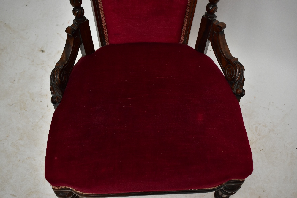 A Victorian carved rosewood lady's salon chair with burgundy dreylon upholstered back and seat on - Image 4 of 4