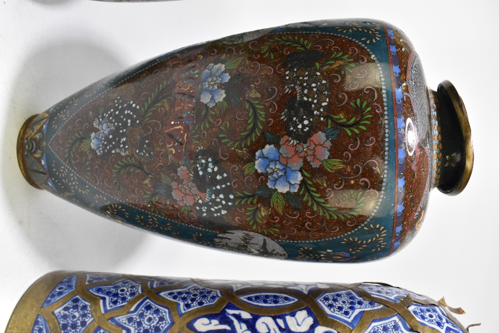 A large and impressive Japanese cloisonne vase of ovoid form, decorated with exotic birds and prunus - Image 6 of 9