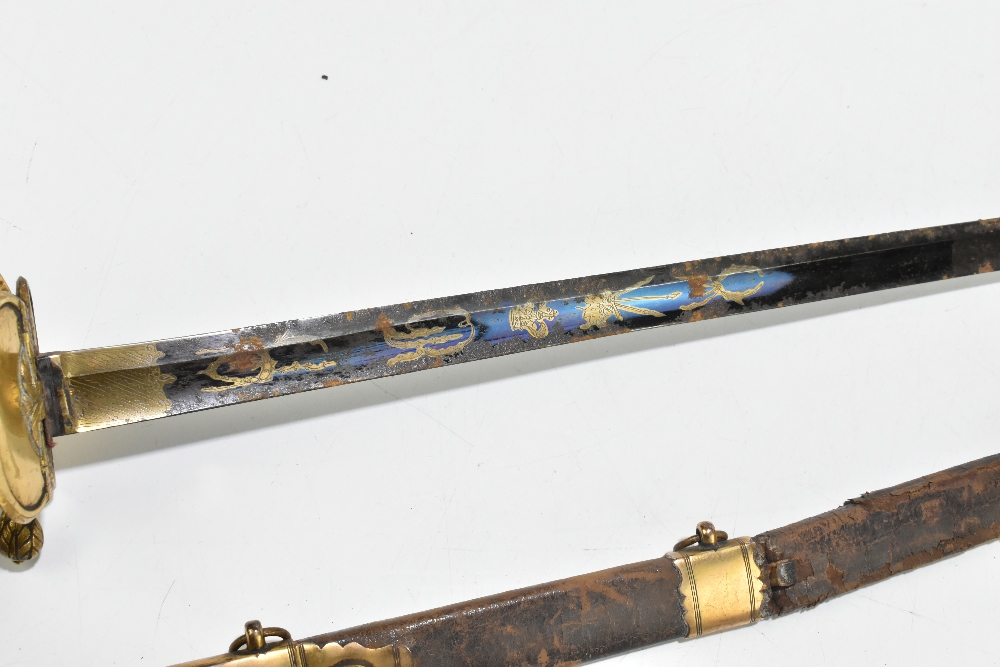 A 19th century Continental court-type sword, the partly blued fullered blade with engraved gilt - Image 4 of 7