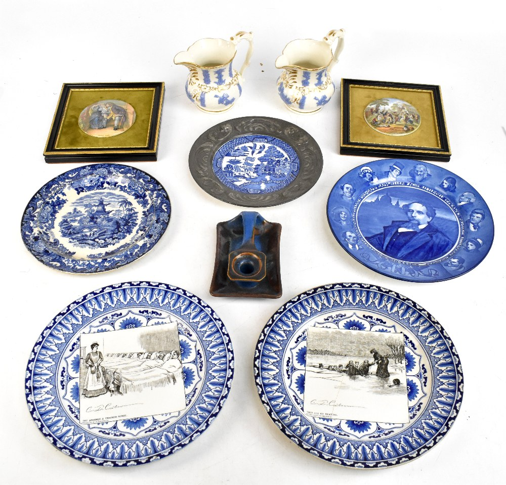 A mixed lot of assorted 19th century and later ceramics to include two jugs with relief and gilt