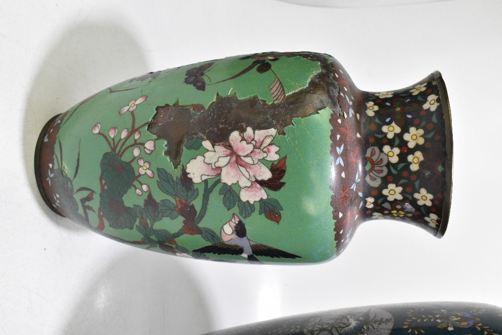 A large and impressive Japanese cloisonne vase of ovoid form, decorated with exotic birds and prunus - Image 5 of 9