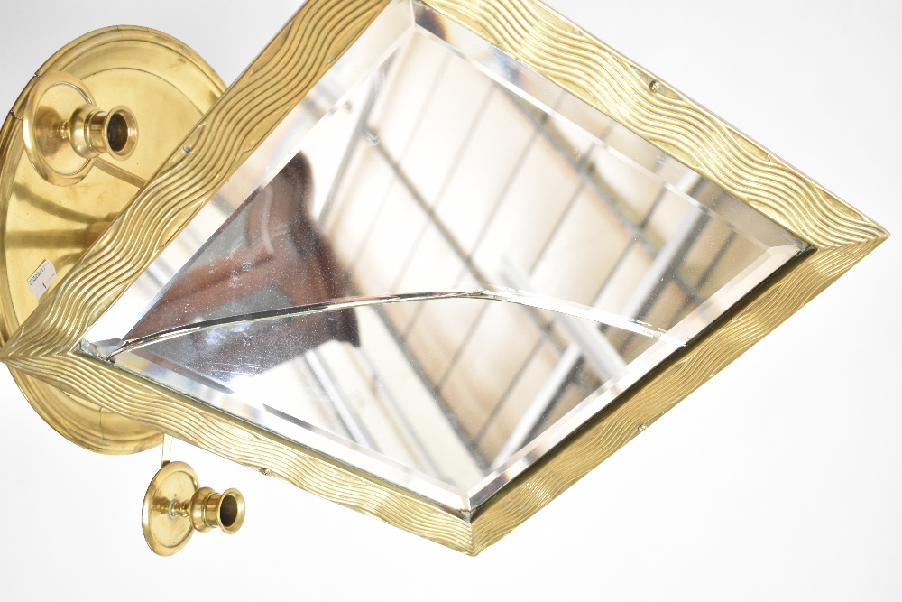 A 19th century brass telescopic shaving mirror, the diamond shaped mirror raised above two - Image 2 of 4