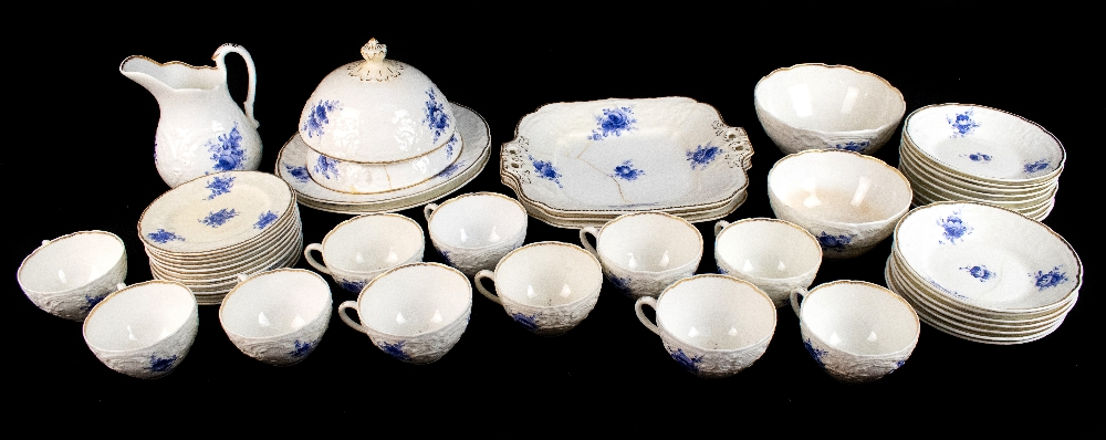 COALPORT; a forty seven piece part tea and dinner service, pattern no.3128, with moulded over