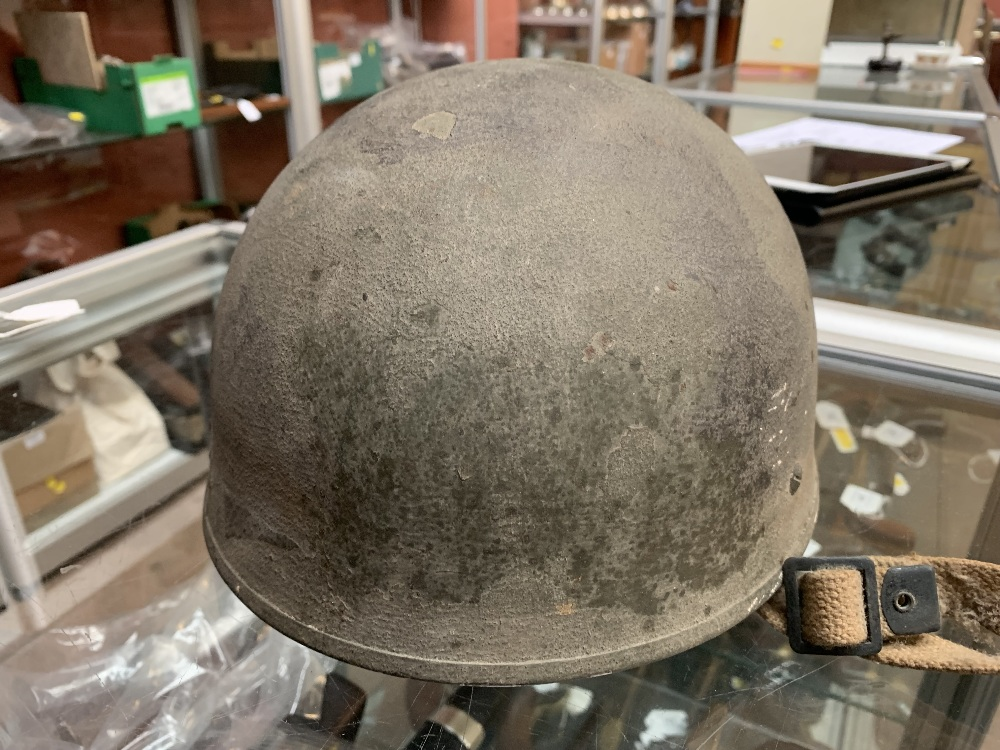 Six WWII and later helmets including a Brodie, American, French, further example labelled 'R' with - Image 9 of 13