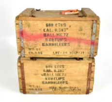 Two wooden ammunition boxes with stenciled lables '[...] CAL. 0.303 ball mk 72 5 rd clips Bandoleers
