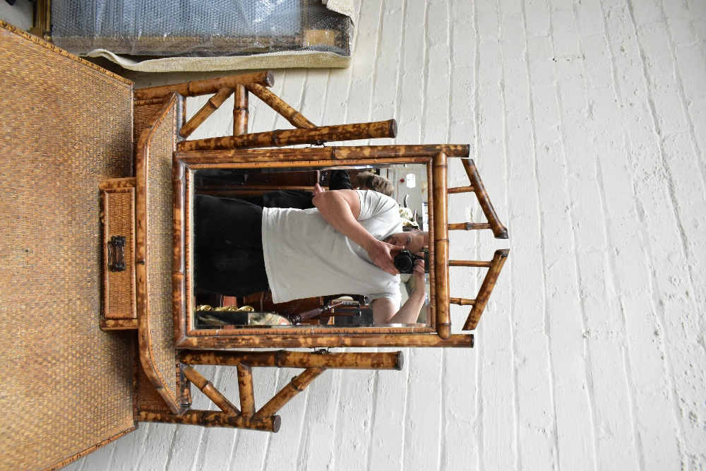 An early 20th century bamboo mirror back dressing table, with two drawers raised on column supports, - Image 3 of 7
