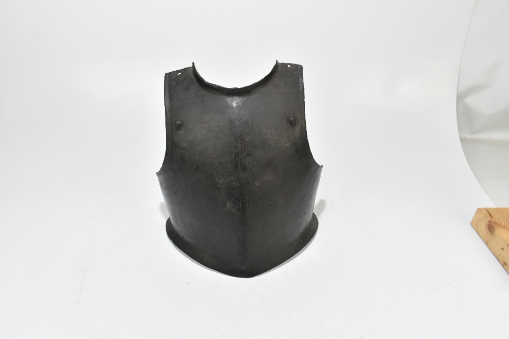An English Cromwellian/Civil War period chest guard of heavy gauge bearing traces of chased - Image 2 of 6