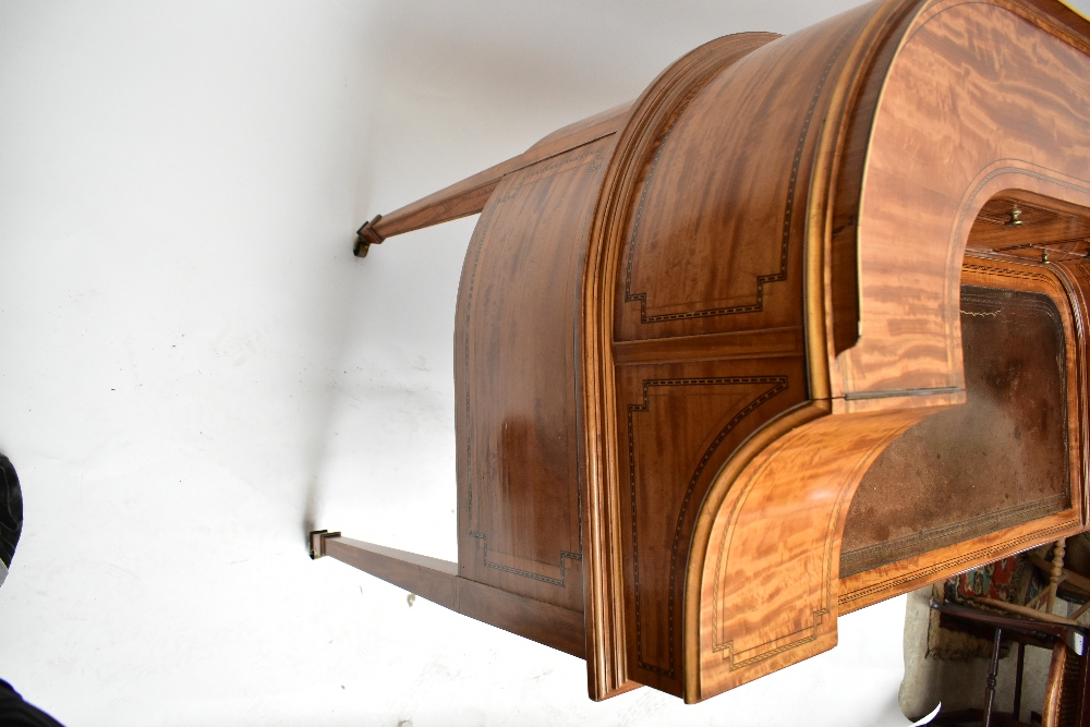 MAPLE & CO; a c.1900 satinwood and inlaid Carlton House desk by Raphael Lalli, the raised back - Image 10 of 16