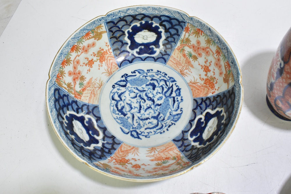 A collection of 19thcentury and later Japanese Imari porcelain and a bowl of circular form with - Image 10 of 14
