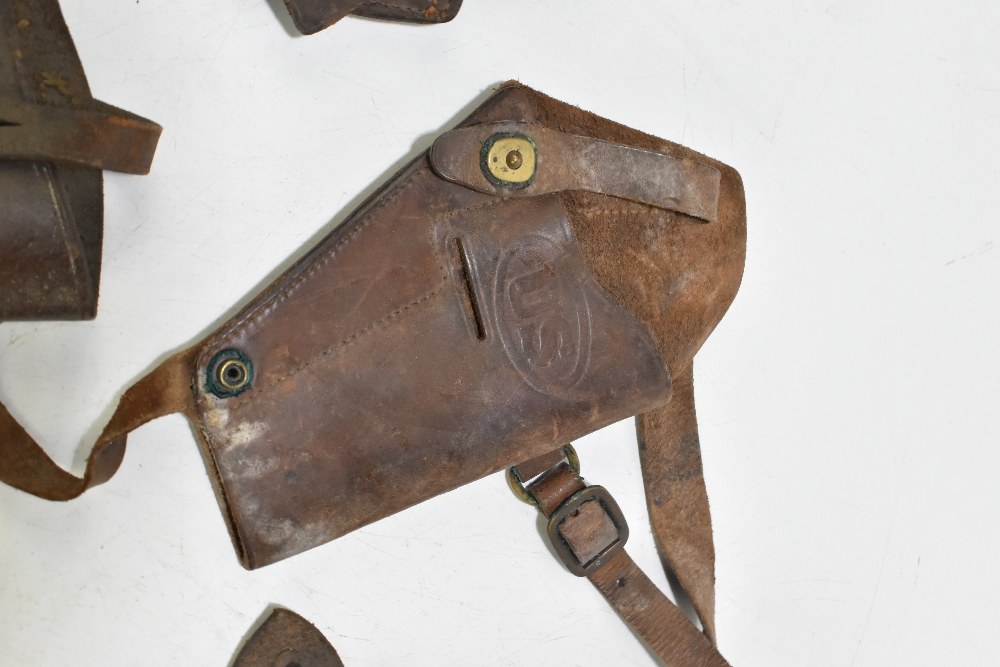 Five leather pistol holsters (5). Provenance: The Captain Allan Marshall Collection.Additional - Image 3 of 6