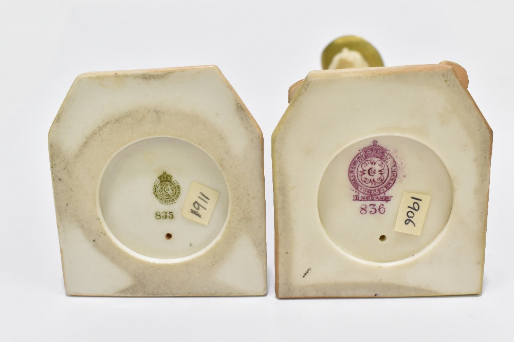 ROYAL WORCESTER; two figures emblematic of countries decorated in shot enamels and modelled by James - Image 5 of 5